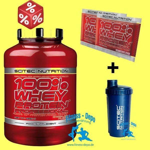 Scitec Nutrition 100% WHEY PROTEIN* PROF 2350g + RAGING Blood.Fl.+Shaker+Proben
