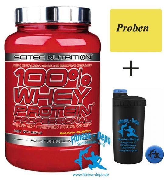 Scitec Nutrition 100% Whey P. Prof. 920g + Shaker+Proben bei 2350g