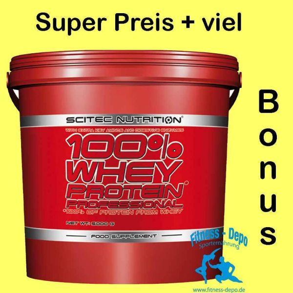 Scitec Nutrition 100% Whey Protein Prof.5000g Eimer+Proben+1.Fl.Protein Smoothie