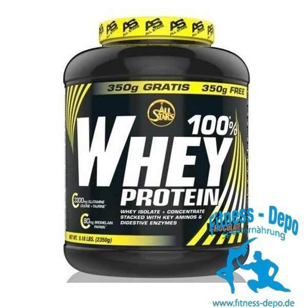 AllStars 100% Whey Protein 19,53?/kg 2350g Dose Molkeprotein+Shaker+Proben