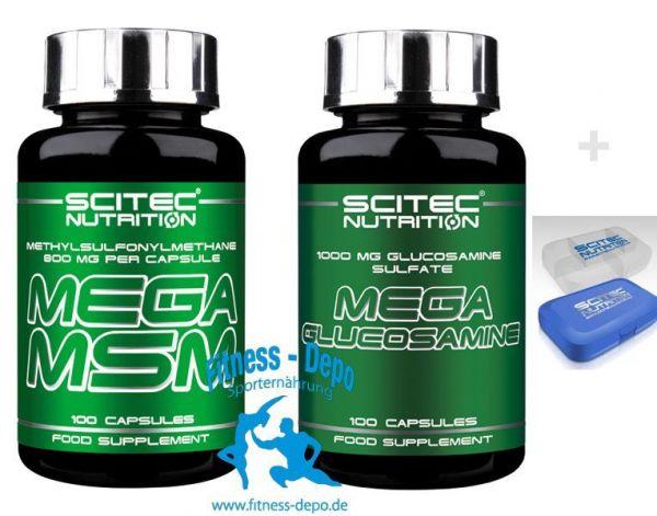 Scitec Nutrition Kombio Mega MSM 100 Kaps.-Mega Glucosamin 100 Kaps.+Pillenbox